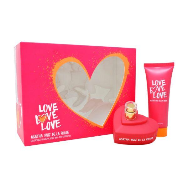Z4 SET AGATHA LOVE LOVE LOVE 2PZS 80ML EDT SPRAY/ BODY LOTION 75ML
