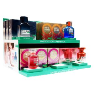 PAQ. BENETTON 38PZS TOGETHER HIM 100ML EDT SPRAY 7PZS/ TOGETHER HER 80ML EDT SPRAY 7PZS/ ONE SUMMER 100ML EDT SPRAY 10PZS/ ONE LOVE HER 80ML EDT SPRAY 10PZS/ 4 TESTER C/U