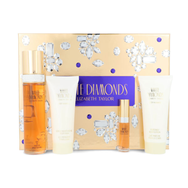 Z4 SET WHITE DIAMONDS 4PZS 100ML EDT SPRAY/ BODY LOTION 100ML/ BODY WASH 100ML / 10ML EDT