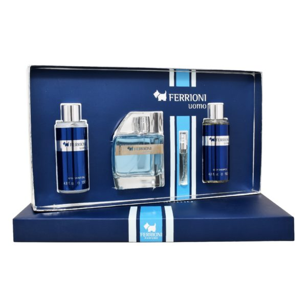 Z4 SET FERRIONI UOMO 4PSZ 100ML EDT SPRAY/ BODY SHAMPOO 150ML/ AFTER SHAVE 150ML/ 6ML EDT